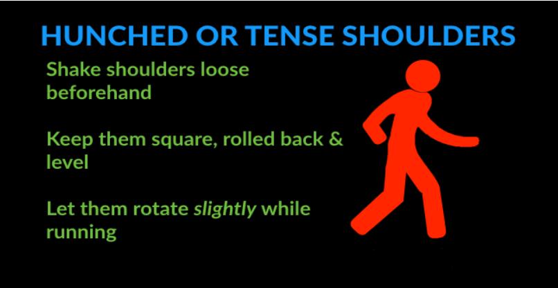 running technique mistakes - hunched or tense shoulders