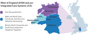 Map of the West of England AHSN area showing our three Integrated Care Systems