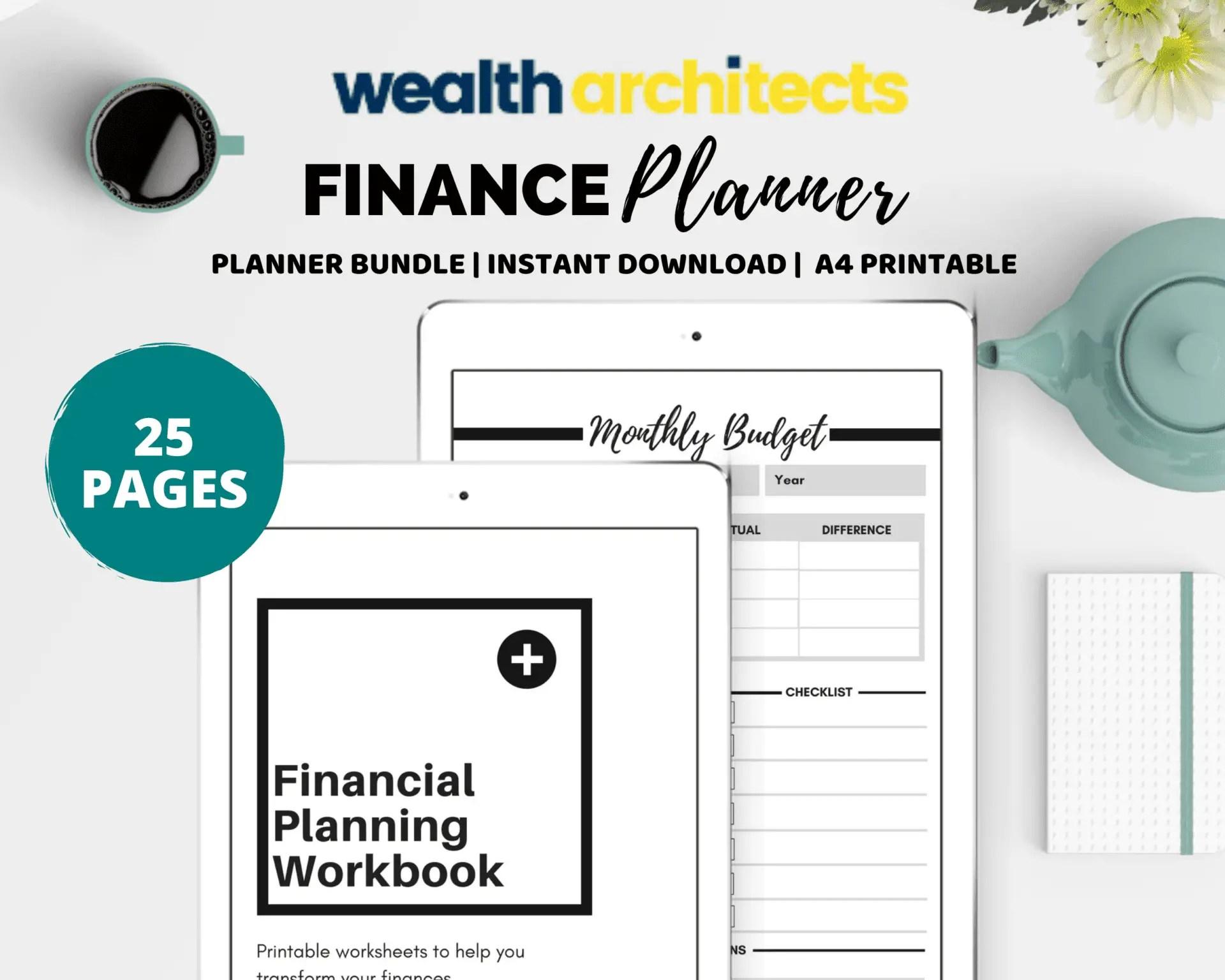 Finance Planner Printable Workbook - Planner Bundle - Wealth Architects