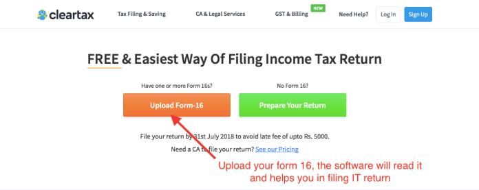 clear tax form 16 upload