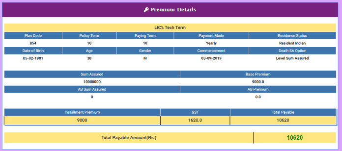 LIC tech term - premium calculation