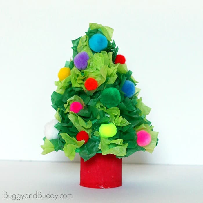 10 Awesome Christmas Crafts for kids - Tissue Paper Christmas tree
