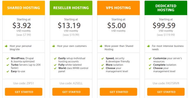 a2 web hosting plan