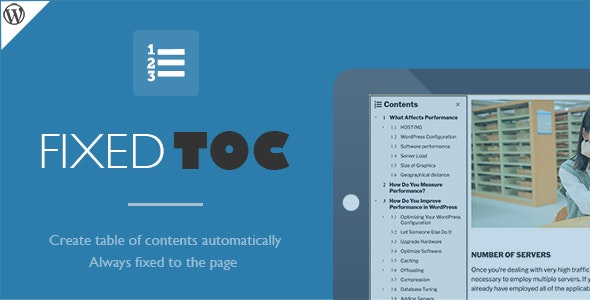 Fixed TOC 3.1.22 – table of contents for WordPress plugin