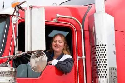trucker in semi cab