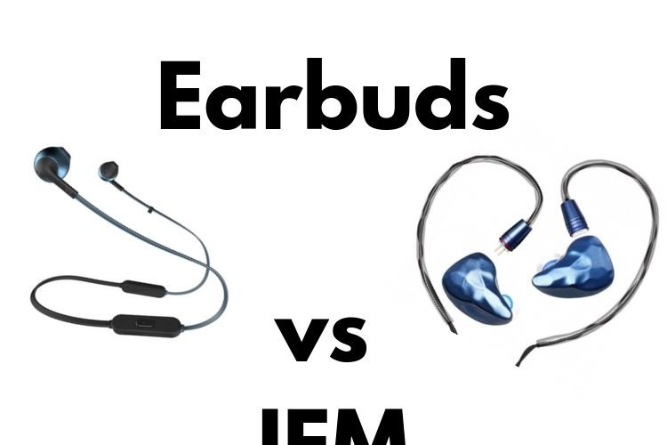 earbud and in-ear monitor side by side