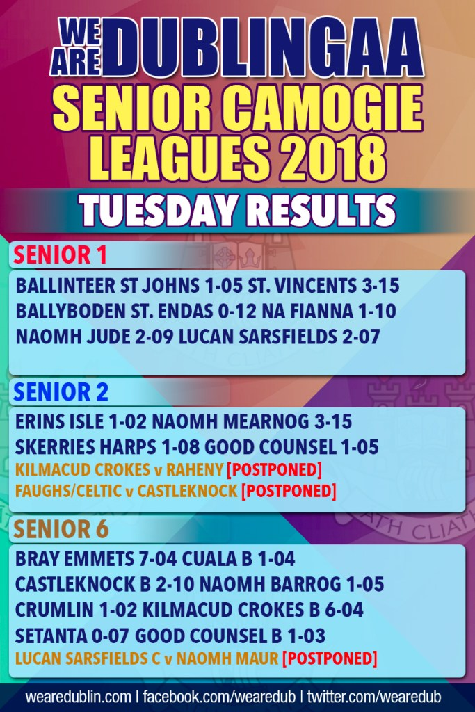 We Are Dublin Senior Camogie League Results