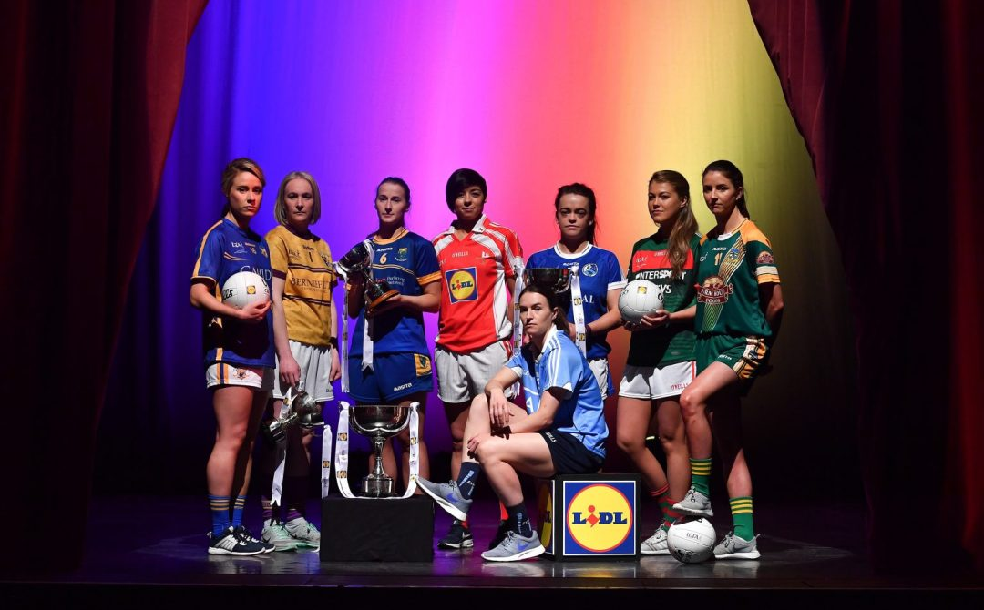 Players From the Particpating Counties Gather For A Photoshoot To Launch The Lidl Ladies National Football League Finals