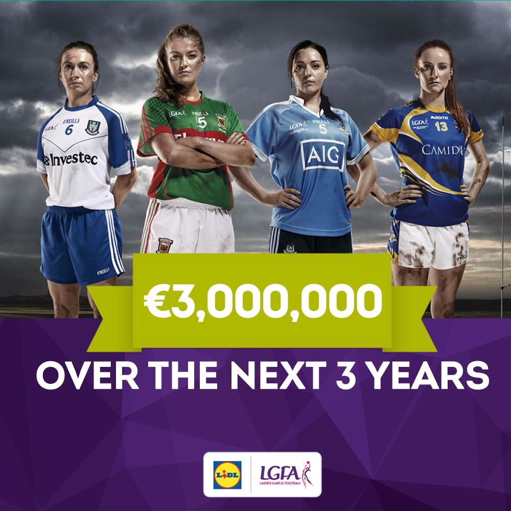 Promotional poster featuring four ladies football players wearing a Monaghan, Mayo, Dublin and Tipperary jersey for the announcement of a further 3 million invest by Lidl Ireland in Ladies Gaelic football