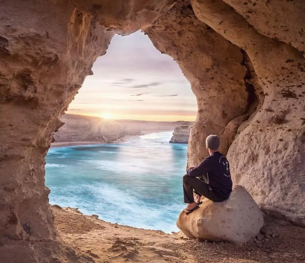 "Microadventures with @iamjonathan 1/5 ""A Great Ocean Road sunrise is always a treat. We left Melbourne at 3am just to try and get a golden start to our micro-adventure. I'd been to this spot once before but to start the weekend off with a sunrise from a cave above the sea? Perfection."" #weareexplorers"