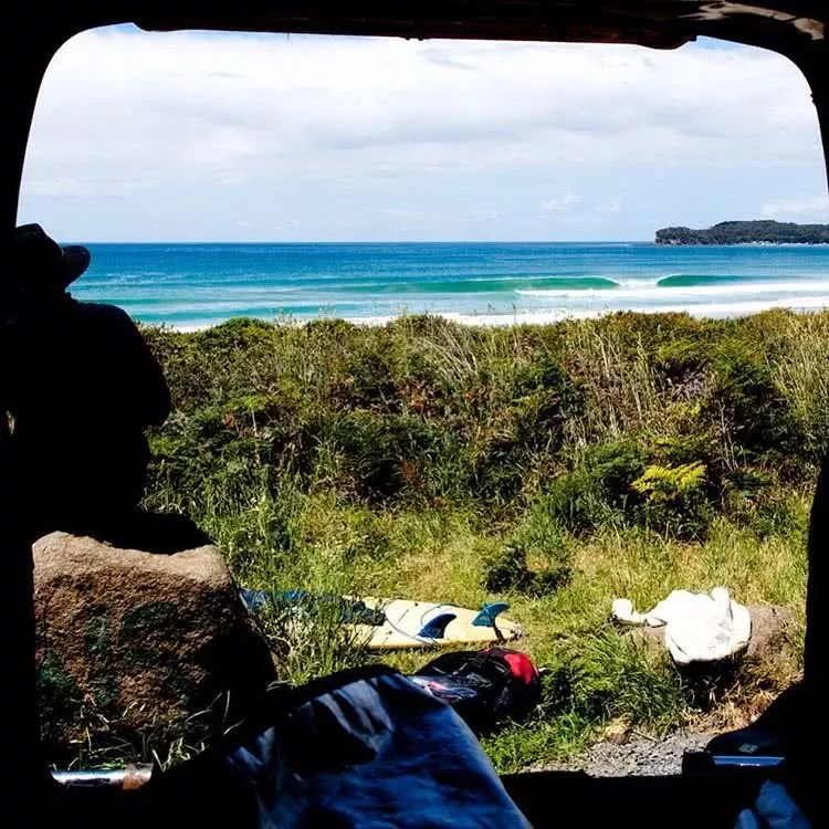 "Microadventures with @digbyayton 2/5 ""The view of the surf from inside my friends van, not a bad place for a mid-day nap. This photo was taken on the east coast of Tasmania and was a result of a spontaneous, micro-adventure. These are the kind of adventures that are really great, surf gear thrown on the grass, warm weather, and good waves. Im pretty sure my friend was playing his guitar while I took this too."" #weareexplorers"
