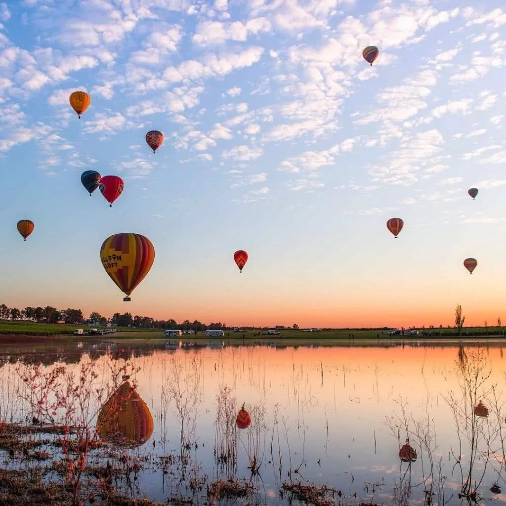 """Microadventures with @mandownphotography 1/5 """"Scarborough Vineyards, Pokolbin, NSW. Hot air balloons with a warm sunrise at the Hunter Valley balloon Fiesta."""" #weareexplorers"""