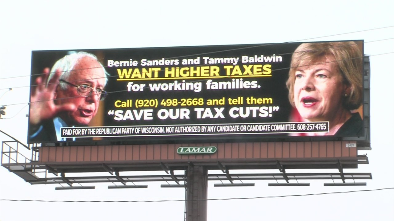 Billboard of Bernie Sanders and Tammy Baldwin