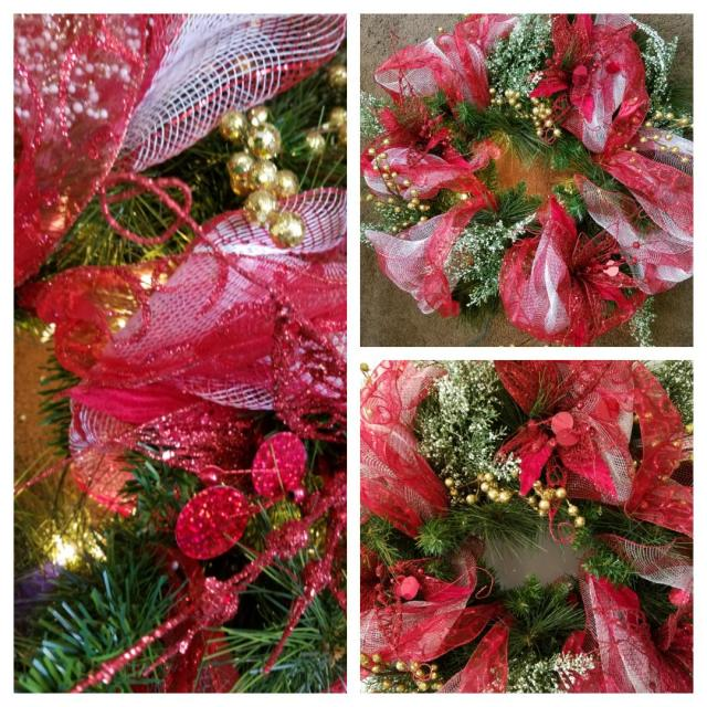 Last one! Whimsical Poinsettia Colors: Red, White, Gold Lights: yes