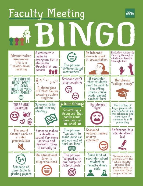 Faculty bingo game card