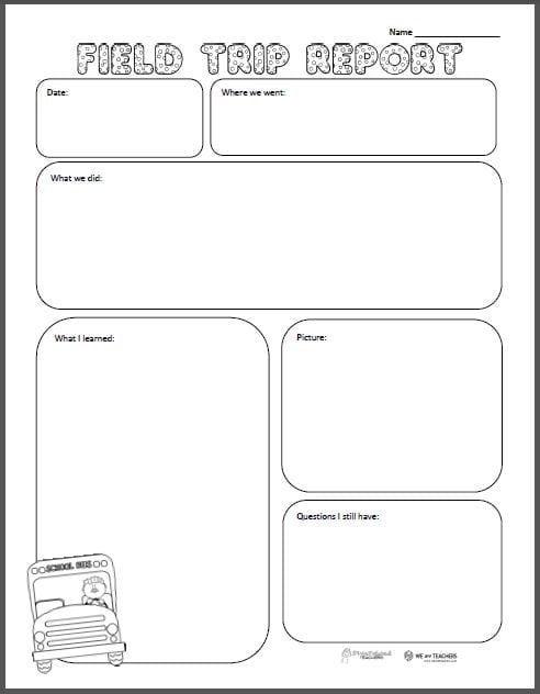 free printable of the week field trip report grades k 6 weareteachers. Black Bedroom Furniture Sets. Home Design Ideas