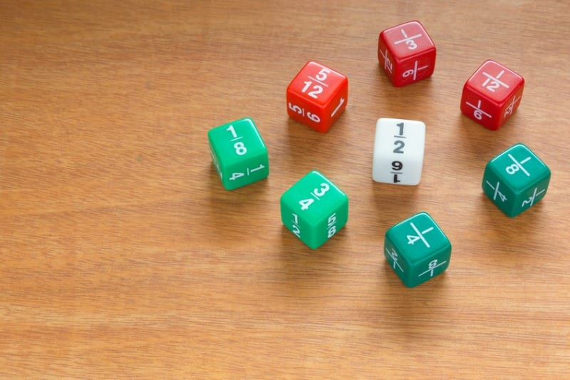 Three color fraction dices, use in elementary classrooms for students to learn about math fractions