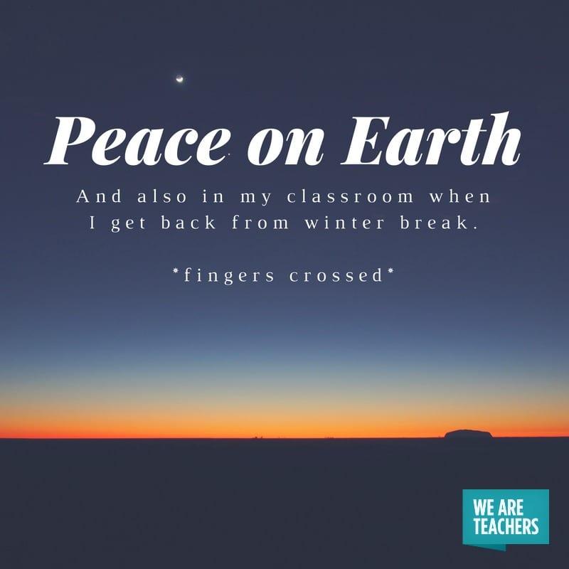 Peace on Earth - Honest Holiday Cards for Teachers
