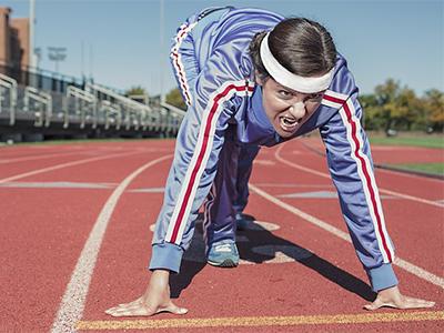 Woman at starting line - running