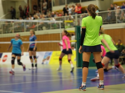 girls playing volleyball, sport
