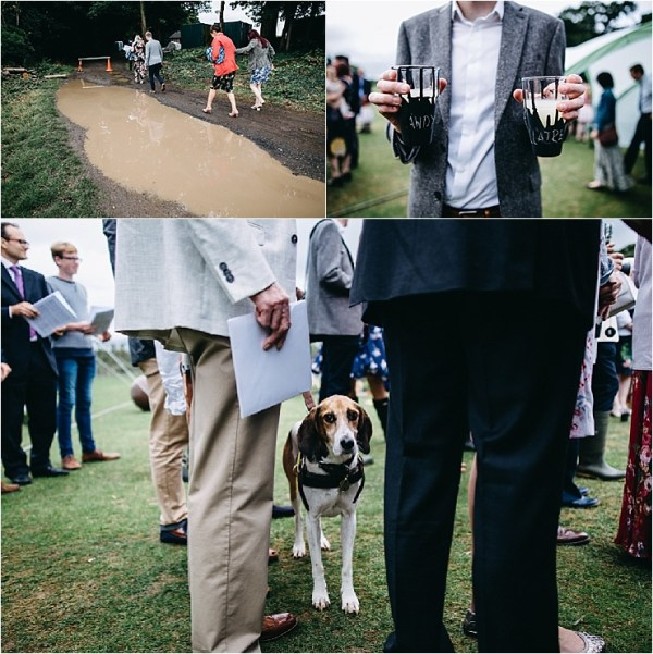 Guests arrive at the muddy cricket ground wedding reception by Hannah Hall Photography