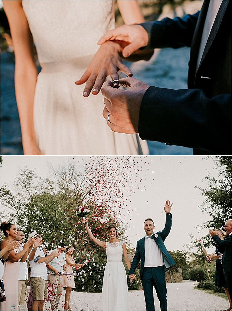 The bride and groom become husband and wife and exchange wedding rings at Borgo di Tragliata by Michele Abriola