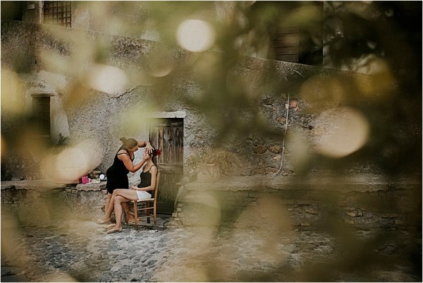 The bride getting ready outside Borgo di Tragliata by Michele Abriola