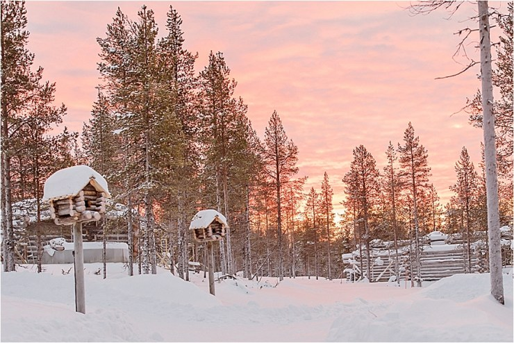 The golden sky glows behind the snowy landscape and wooden bird houses at Kakslauttanen arctic resort in Finland by Your Adventure Wedding