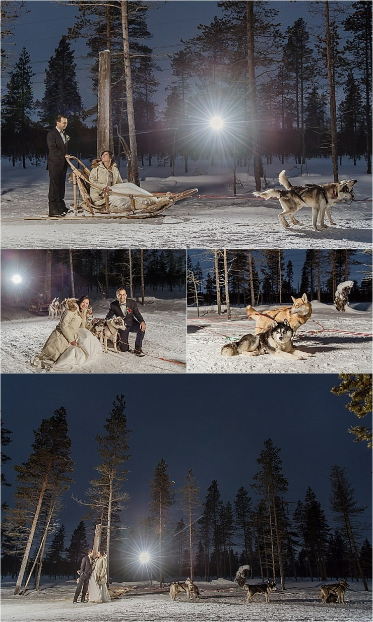 The bride and groom go husky sledding after their Lapland elopement at Kakslauttanen arctic resort in Finland by Your Adventure Wedding