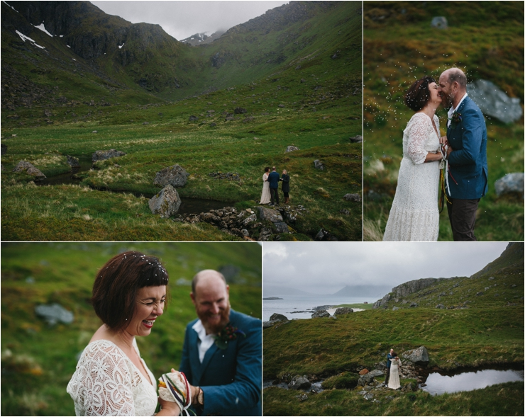 Maz and Dave celebrate with a first kiss in Lofoten Norway by Thomas Stewart