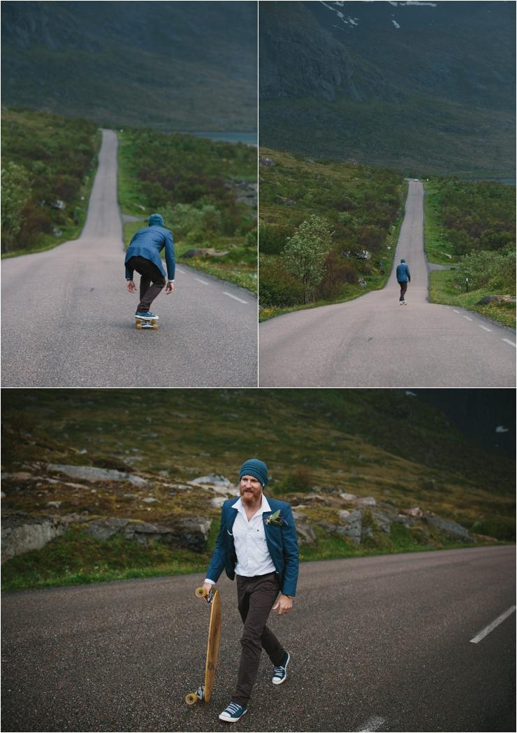 A skateboarding groom in Lofoten Norway by Thomas Stewart