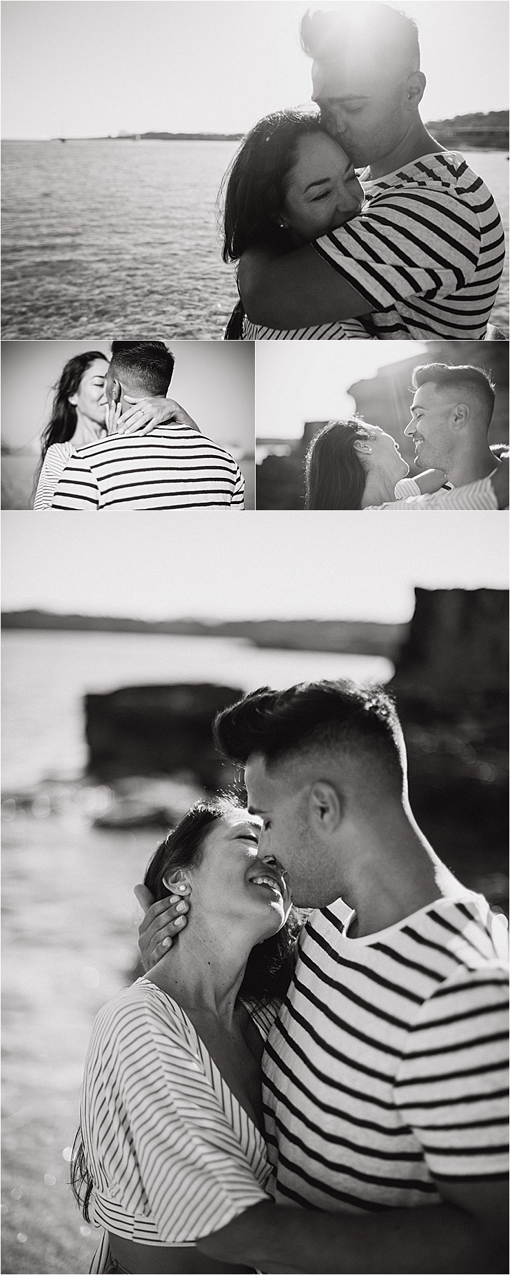Beach engagement shoot in Ibiza couple kissing with the sun and ocean behind them by Wild Connections Photography