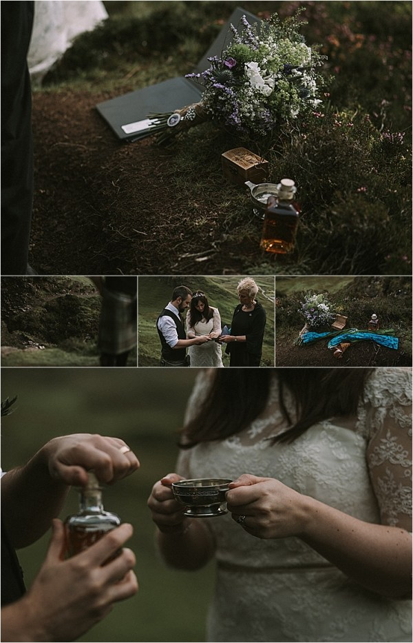 A celebratory cup of whisky after their Isle of Skye elopement by Maureen Du Preez