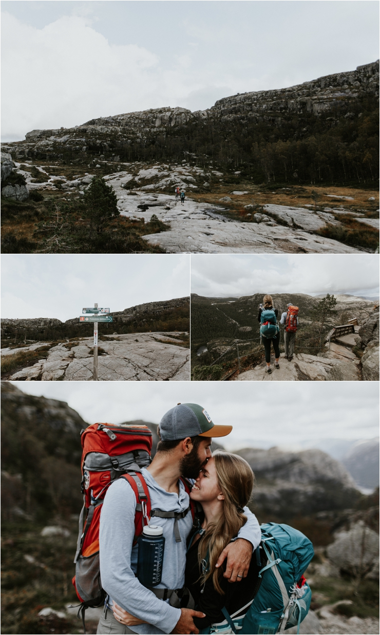 Becky and Tyler emerge from the forest for the final section of their hike to Pulpit Rock or Preikestolen in Norway by Aspen Jeanne Photography