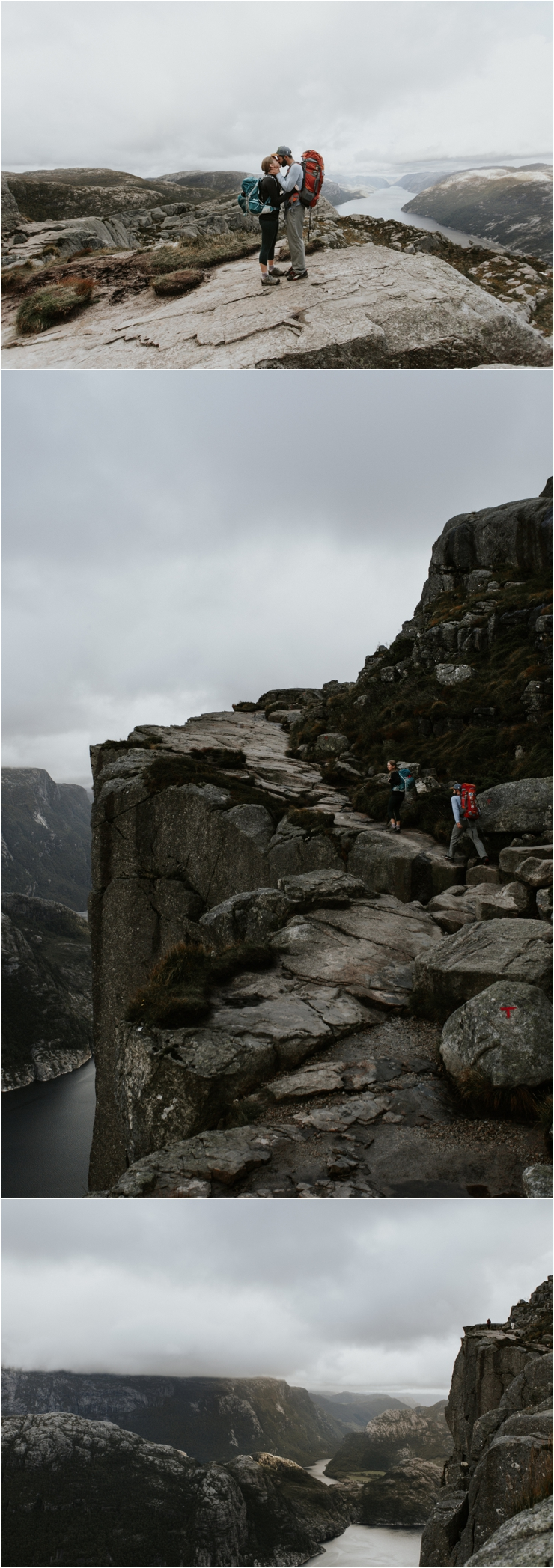 Becky and Tyler hike the last uphill stretch to Preikestolen in Norway by Aspen Jeanne Photography
