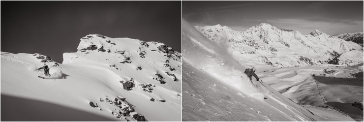 Pictures of a skier skiing off-piste on Stubai Glacier in Austria by Ekkelboom-White Photography