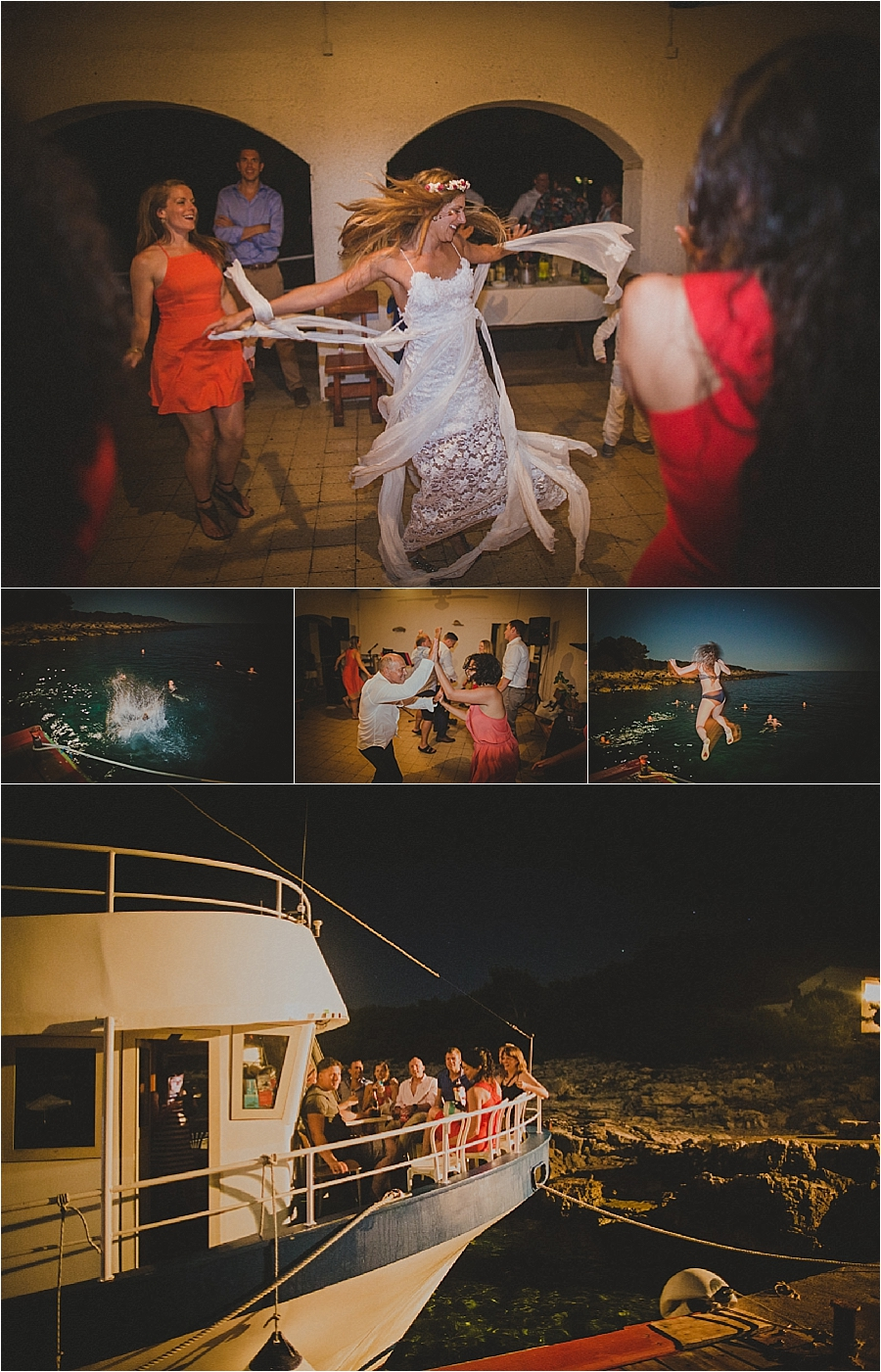 The wedding guests party on a boat after a beach wedding in Croatia by Matija Kljunak Weddings