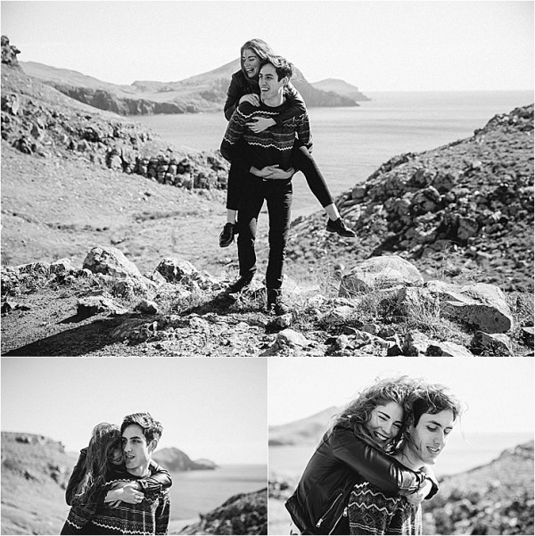 A husband gives his wife a piggyback along the cliffs in Madeira by Konstanz-Fotograf