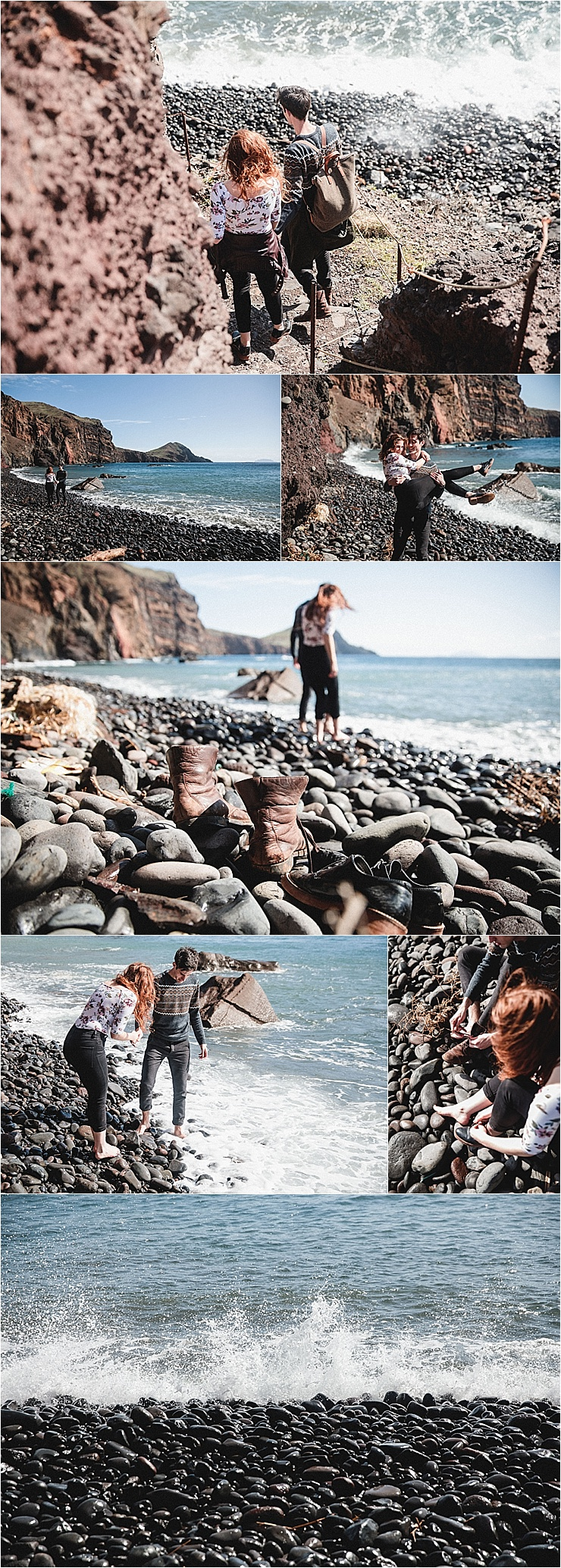 Couple leaves their shoes on the pebble beach and goes paddling in the ocean in Madeira by Konstanz-Fotograf