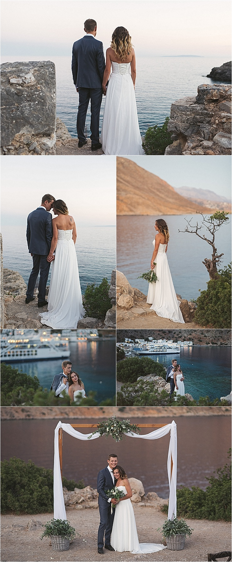 The sun sets behind the bride and groom in Crete by Andreas Markakis Photography