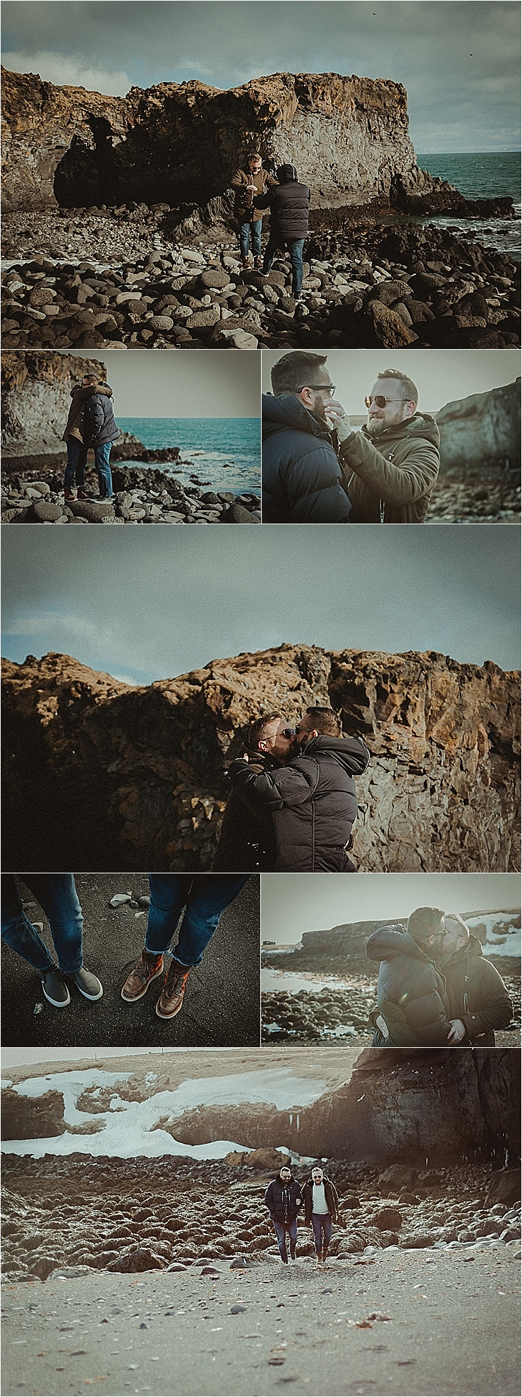 Same sex Snaefellsnes Peninsula Iceland engagement session couple walks along the beach by Zakas Photography