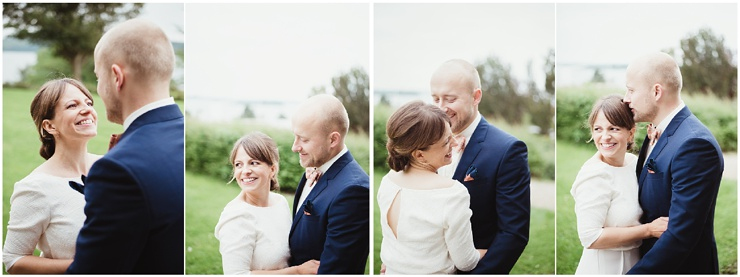 Bride and groom portraits at a waterfront wedding in Denmark by Lauren McCormick Photography