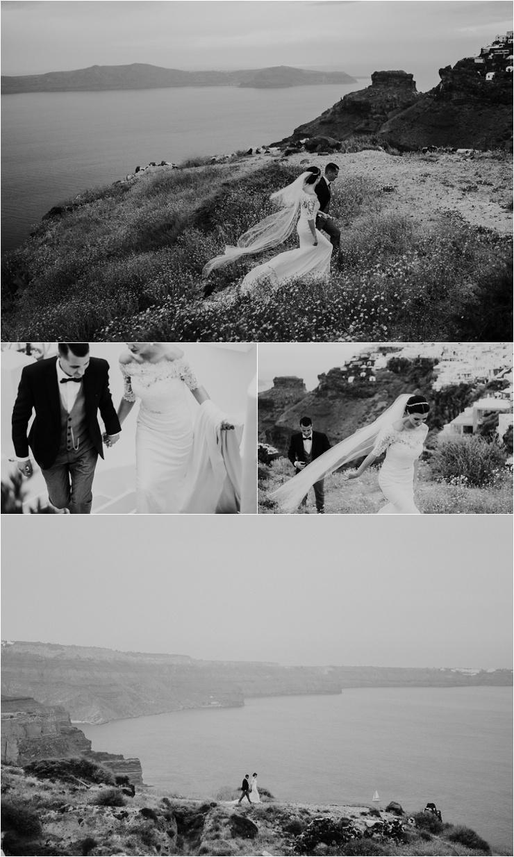 Dramatic wedding portraits for a Santorini destination wedding by Tara Lilly Photography