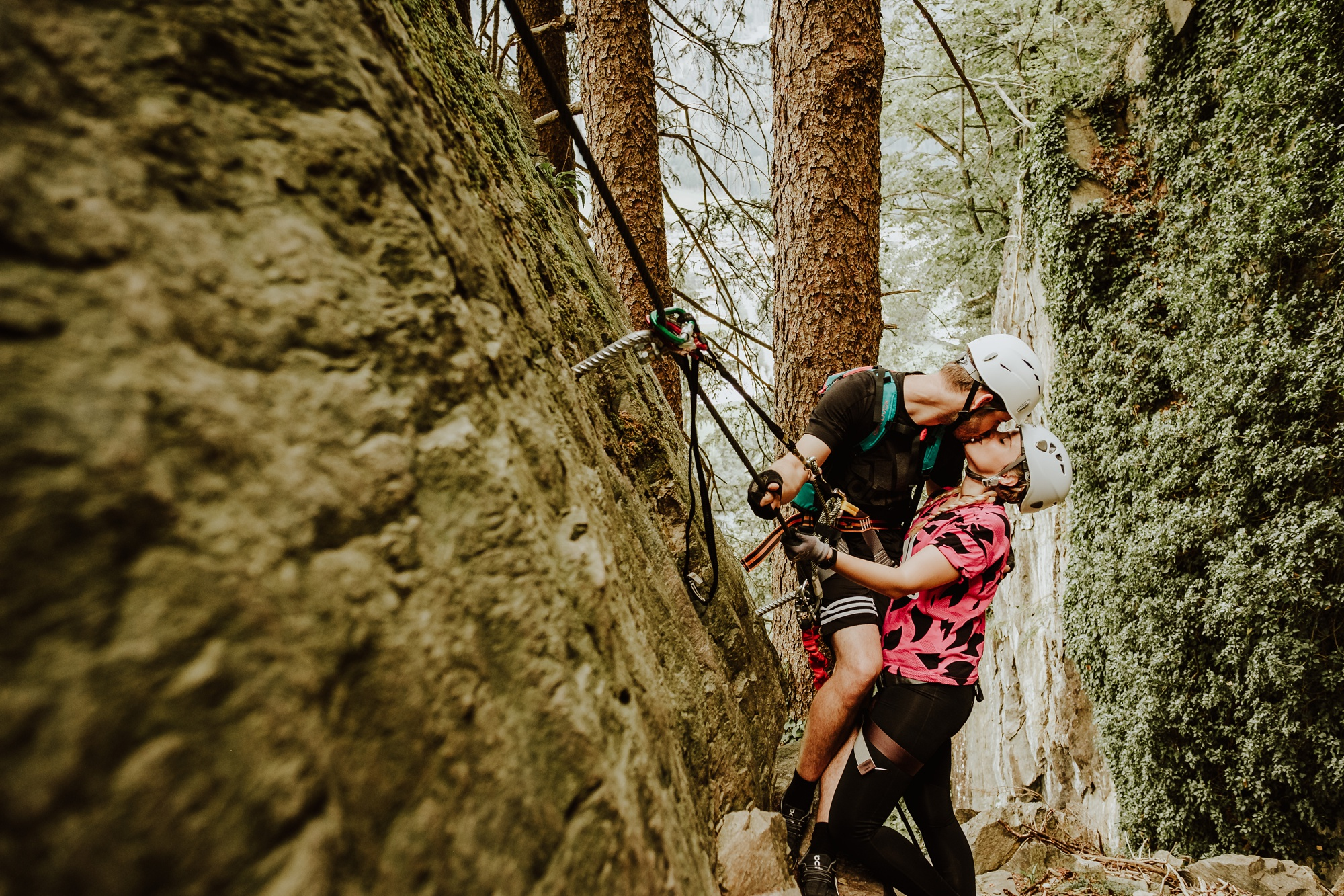 Couple climbing engagement shoot by Wild Connections Photography