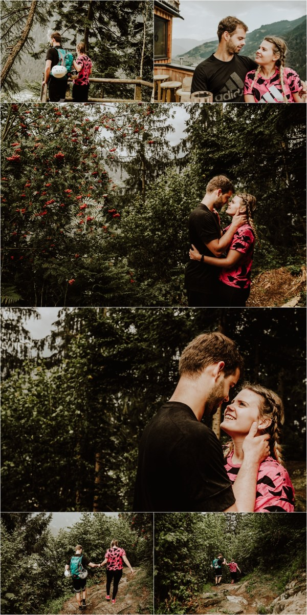 Sporty couple kisses after their climbing couple shoot in Austria by Wild Connections Photography