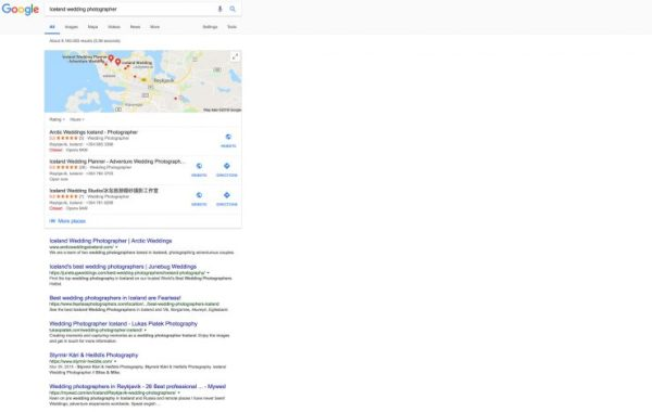 Screen grab of Google search for Iceland Wedding Photographer