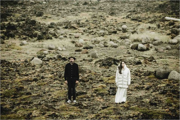 Gaby & German amongst the lava fields in Iceland for their Iceland anniversary shoot by Projectphoto.ch