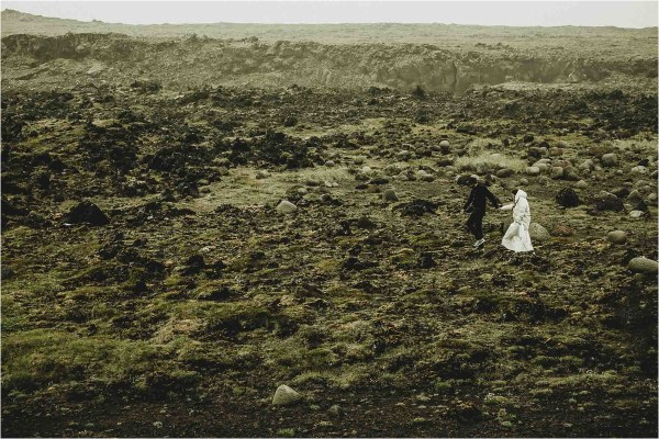Gaby & German hike across the lava fields for their Iceland anniversary shoot by Projectphoto.ch