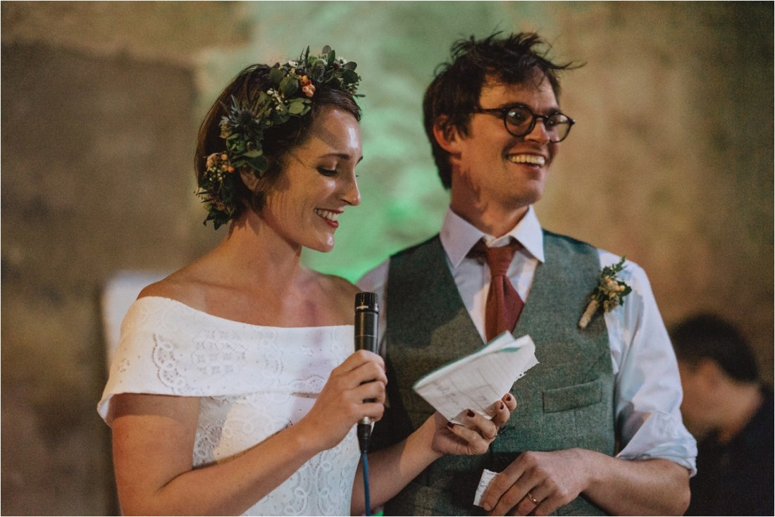Bride & groom make a speech for their sheep farm wedding by Fox & Bear Photography