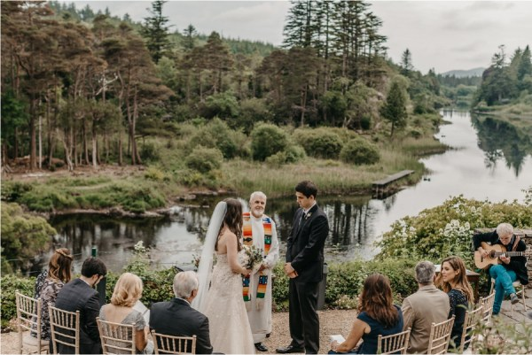 A wedding ceremony with a view at Ballynahinch Castle by No Other Love Photography